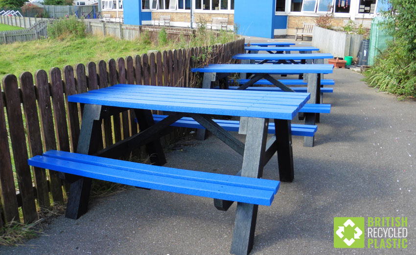 Coloured topped Denholme recycled plastic tables
