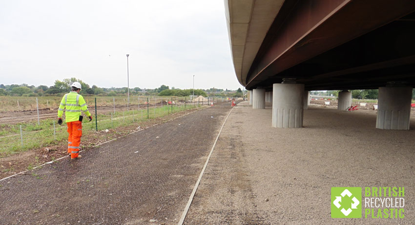 The recycled plastic Hebden X-Grid permeable paving used by England Highways at the site of the Chelmer By-Pass