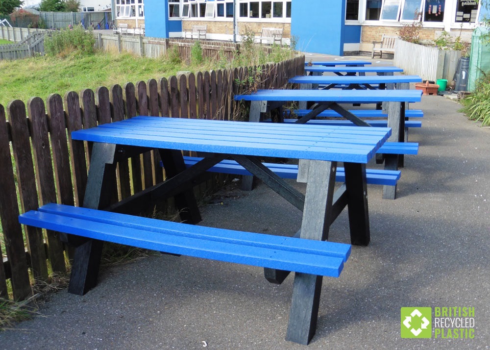 These blue Denholme recycled plastic picnic tables are in a school
