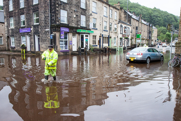 Flooding in Hebden Bridge. Photo by Craig Shaw.