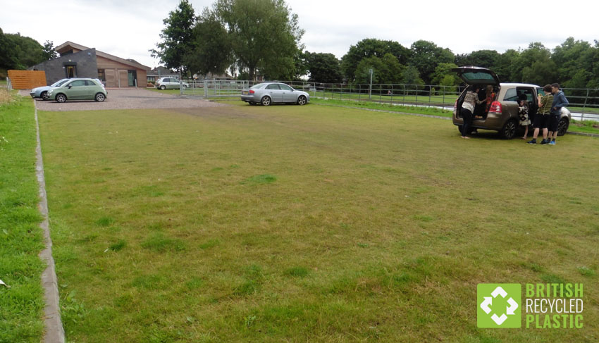 Filled with grass, this recycled plastic Hebden X-Grid permeable paving is used in the car park of a nature reserve