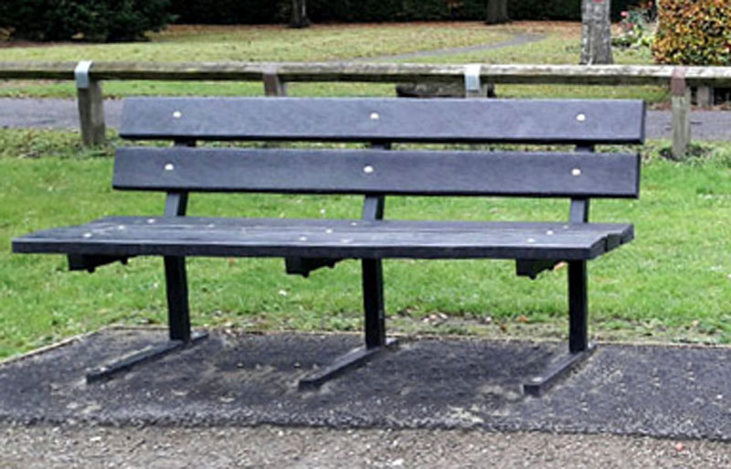 The recycled plastic Heptonstall bench with metal frame from British Recycled Plastic