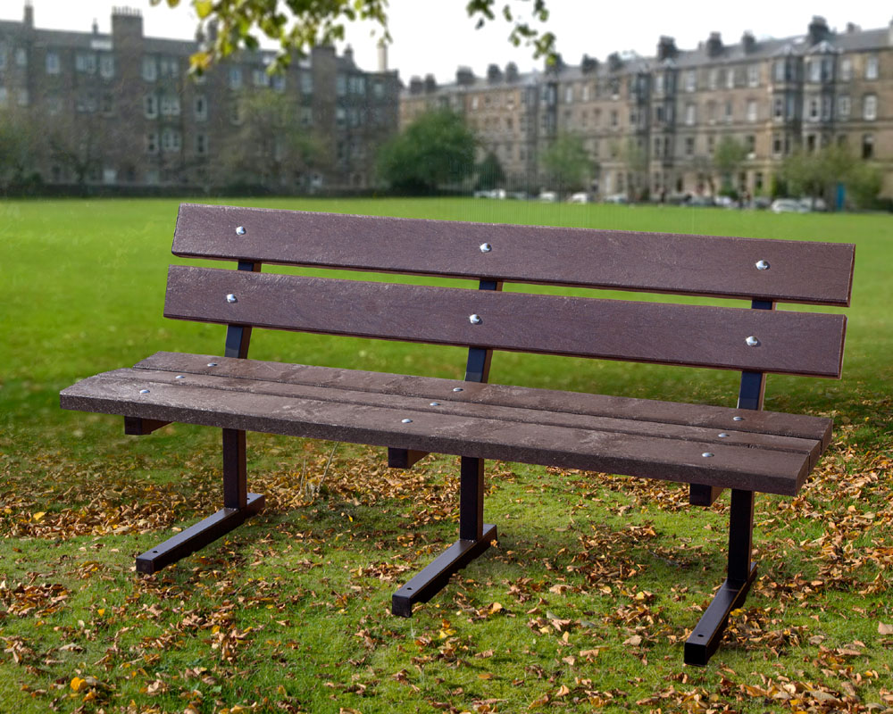 The Heptonstall bench made from recycled plastic with a metal frame
