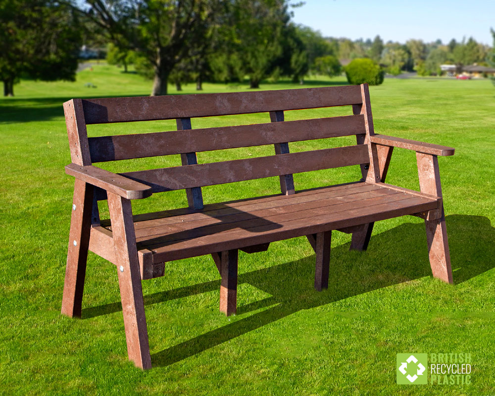 Ilkley Recycled Plastic bench in Brown
