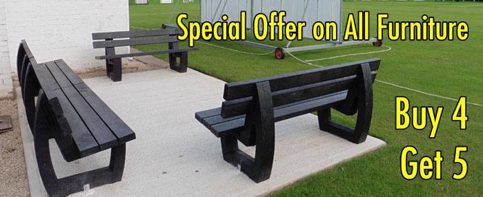 Special offer on all recycled plastic benches, seats and picnic tables