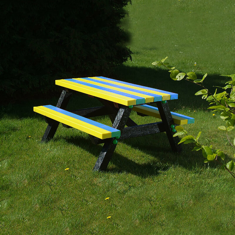 Denholme Adult Picnic Table Black and Bright Colours