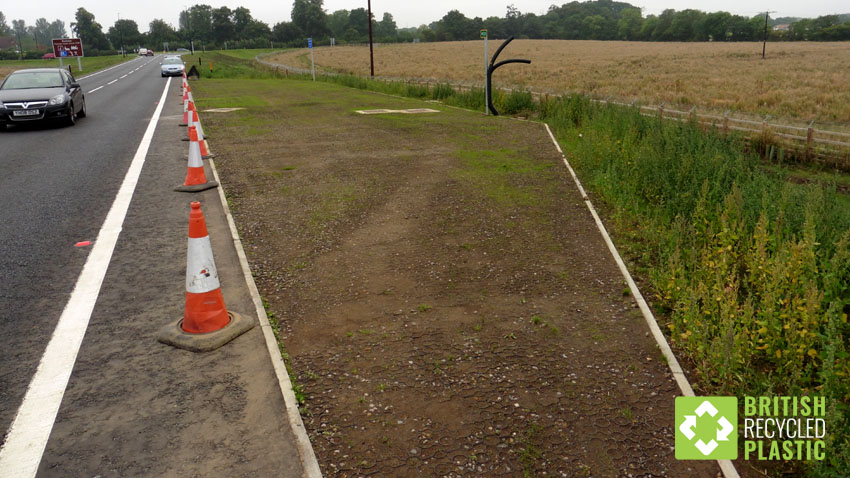 Hebden X Grids, ground reinforcement grids installed in lay-by