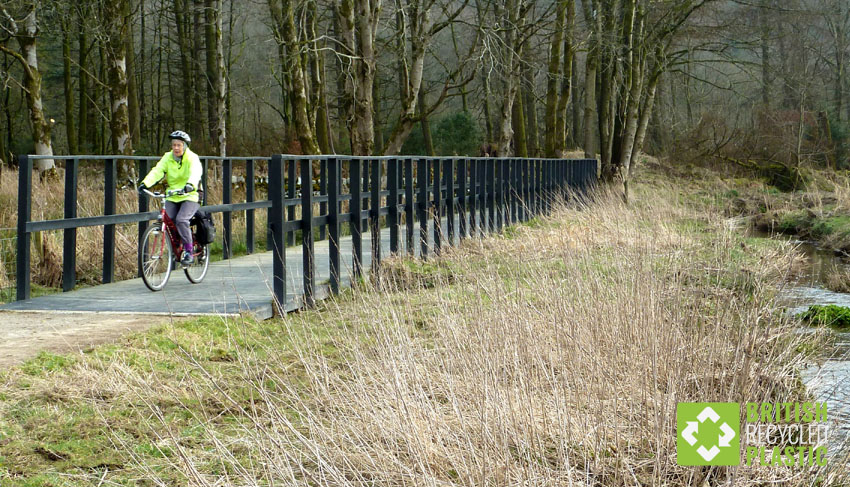 This recycled plastic boardwalk is part of a cycle route and is crossing marshland