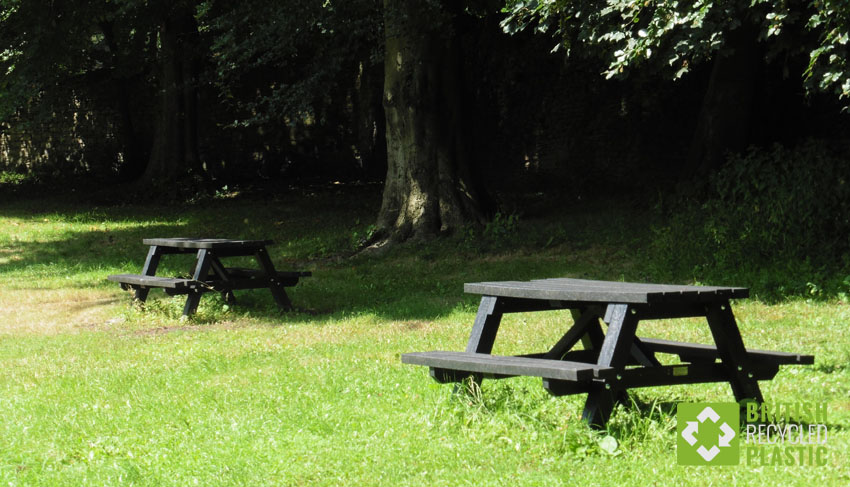 Denholme recycled plastic picnic table in a country estate