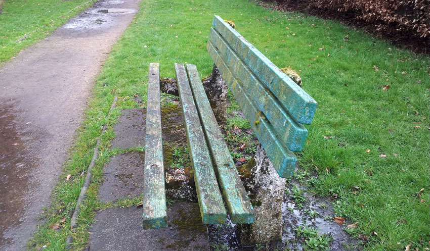 An example of the benches in Longsight Park before they were replaced by seats made from recycled plastic