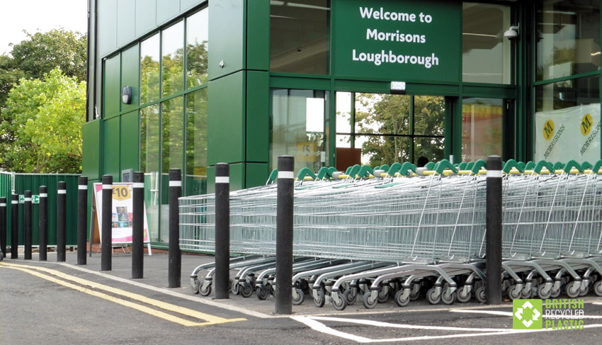 Recycled plastic bollards at Morrisons