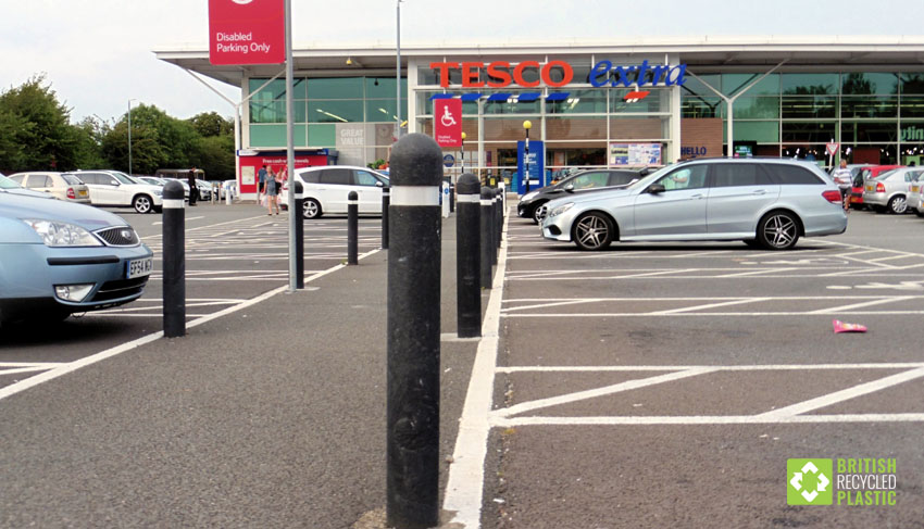Recycled plastic bollards at Tesco
