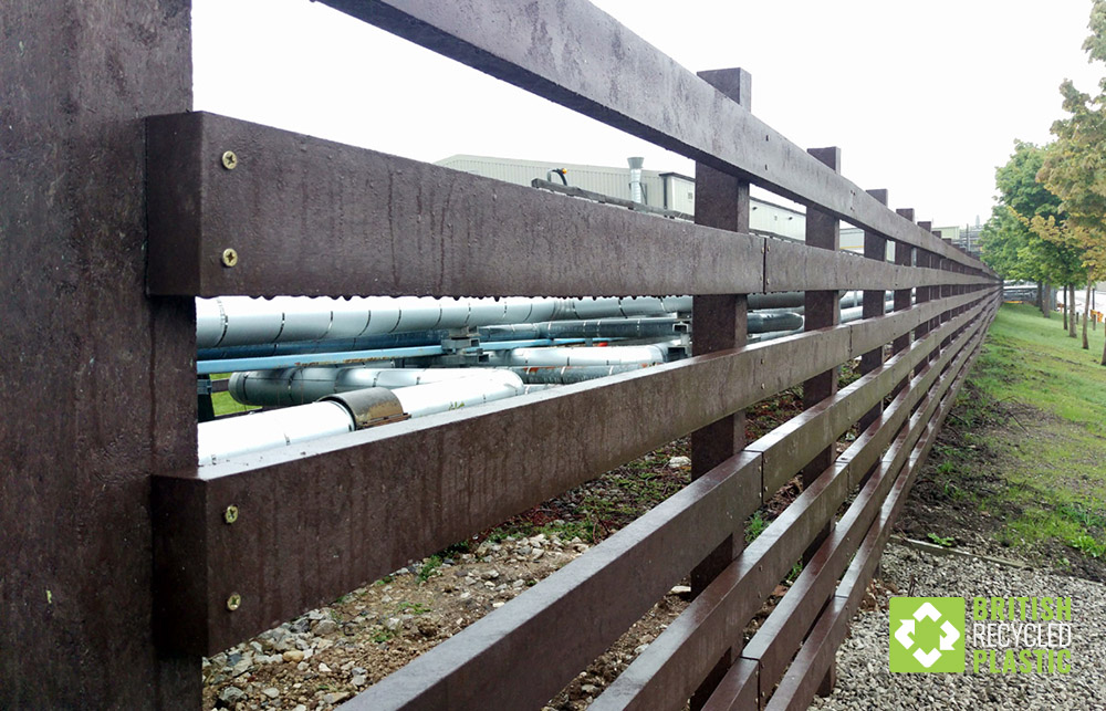 Recycled plastic fencing at Astra Zenica