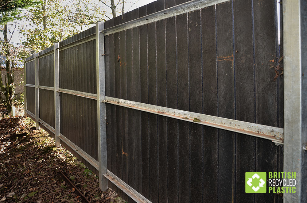 Recycled plastic fencing can sometimes use steel posts and rails