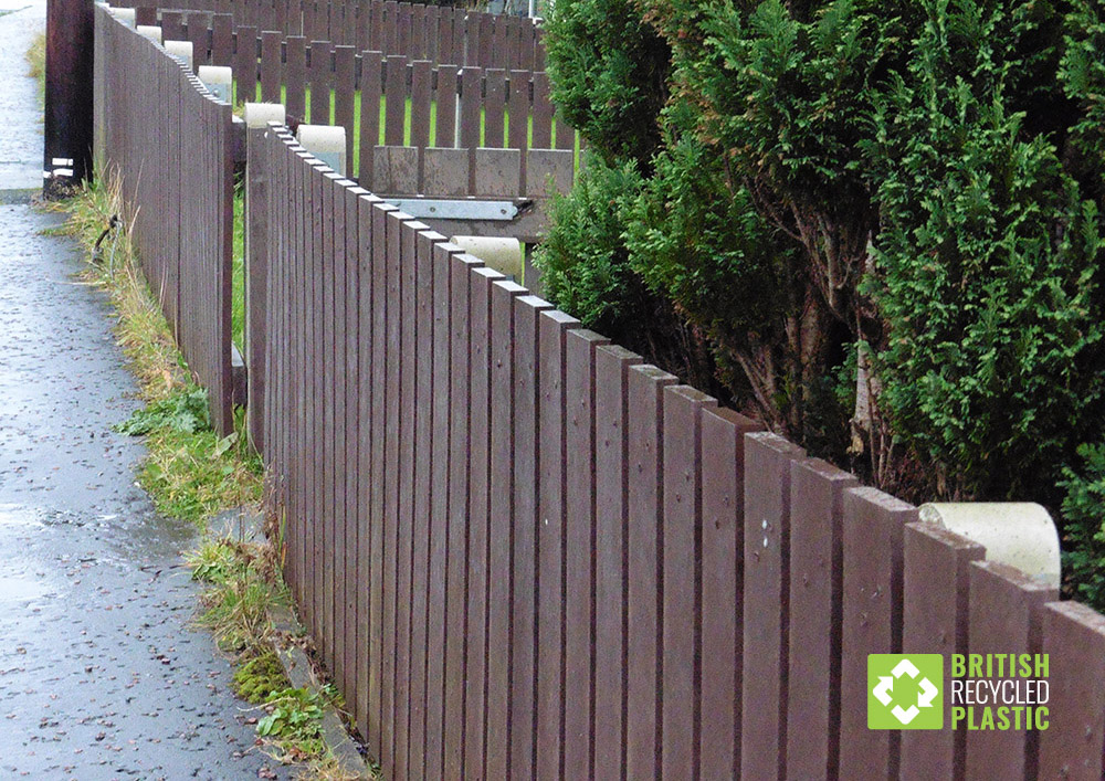 Recycled plastic fencing for social housing