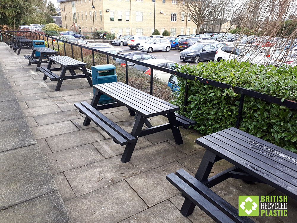 The Todmorden recycled plastic bench is larger than normal and has steel reinforcement