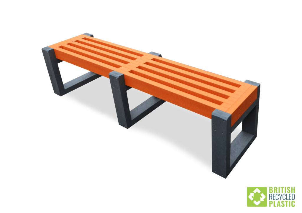 Skipton Bench with orange slats