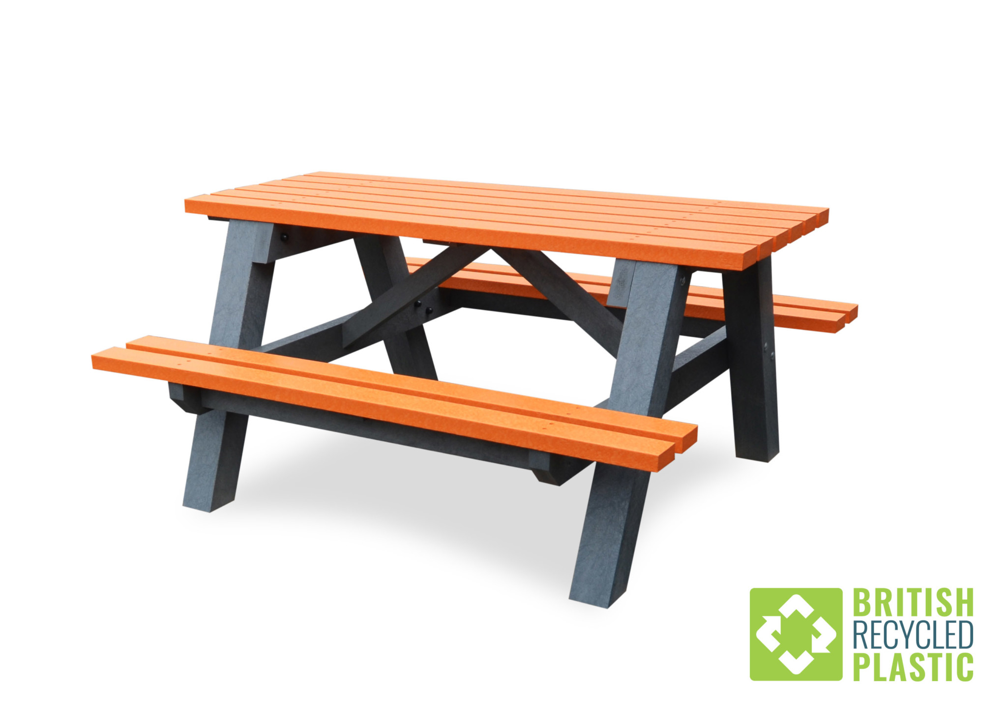 Denholme picnic table with orange slats
