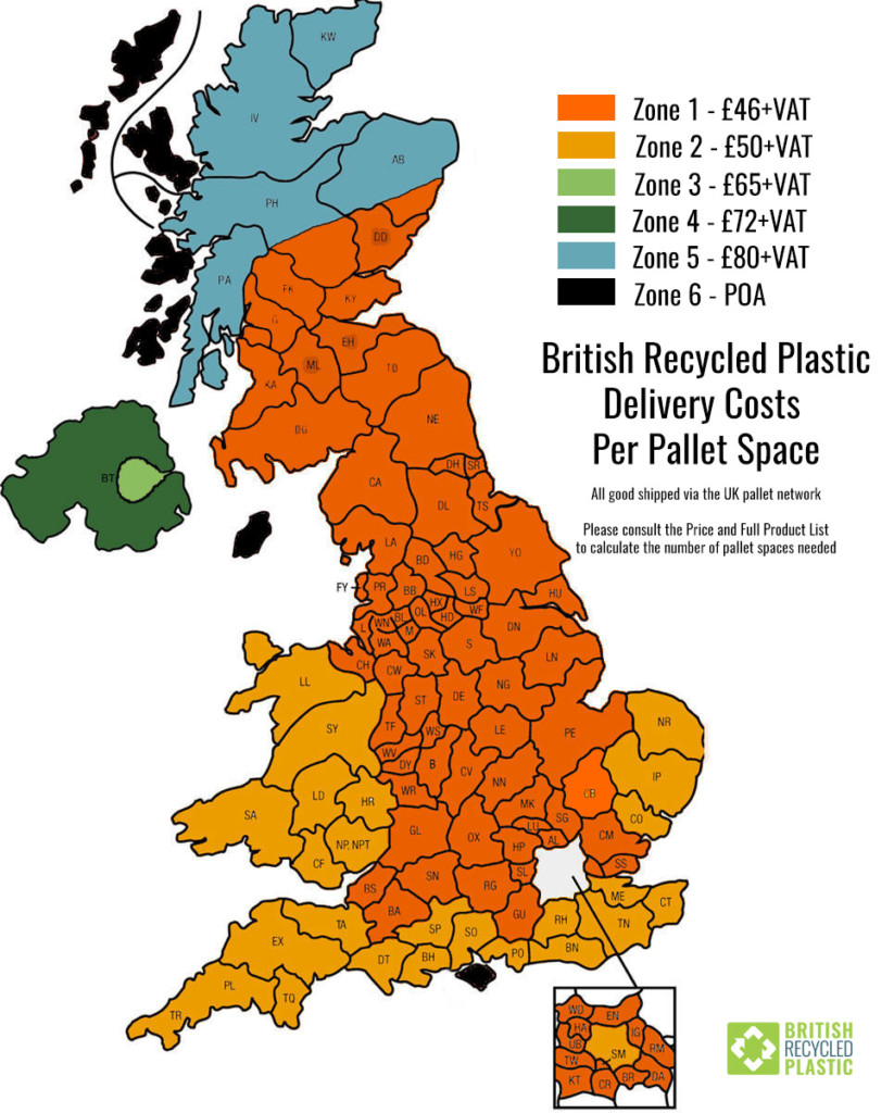 Transport map showing carriage costs for British Recycled Plastic throughout the United Kingdom