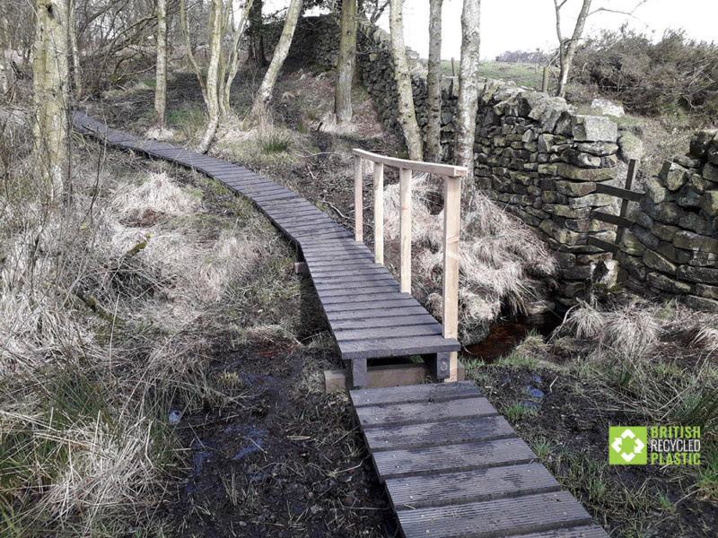 Recycled plastic boardwalk at National Trust Brimham Rocks