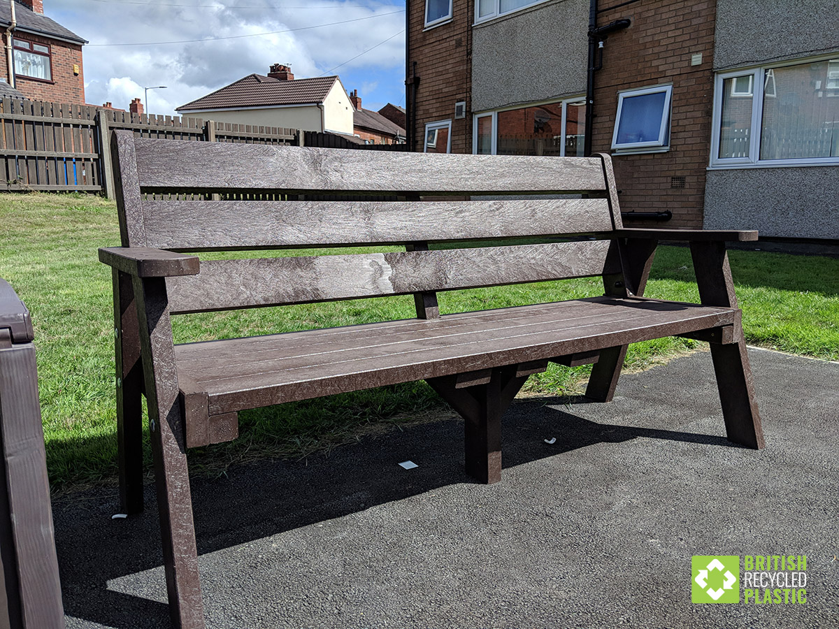Ilkley sloper bench made from recycled plastic