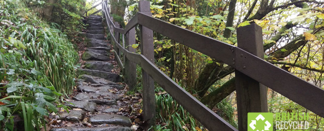 Recycled plastic lumber handrail on steep forest steps
