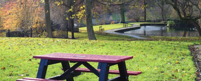 One of Sowood Park's picnic tables