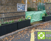 Recycled plastic planters used to