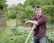 Huw Richards stands in his garden