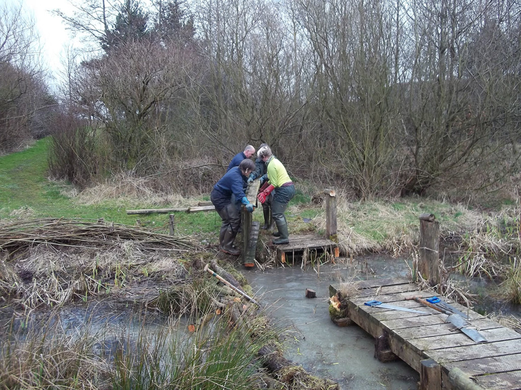 Volunteers remove the muddy wooden remains of the old bridge.