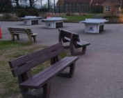 Dartford Grammar School's new recycled plastic benches, installed to replace their old concrete and timber ones.