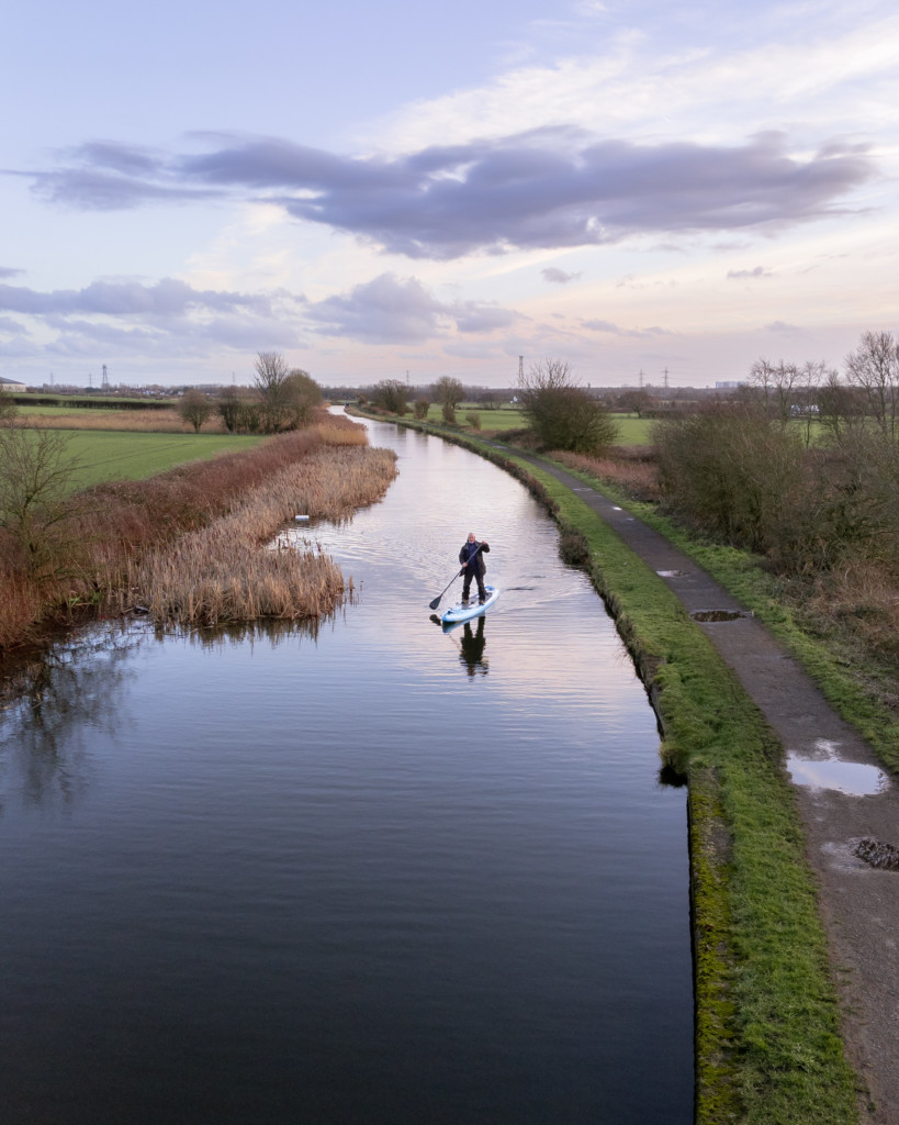 Jason Elliott paddleboarding across Northern England