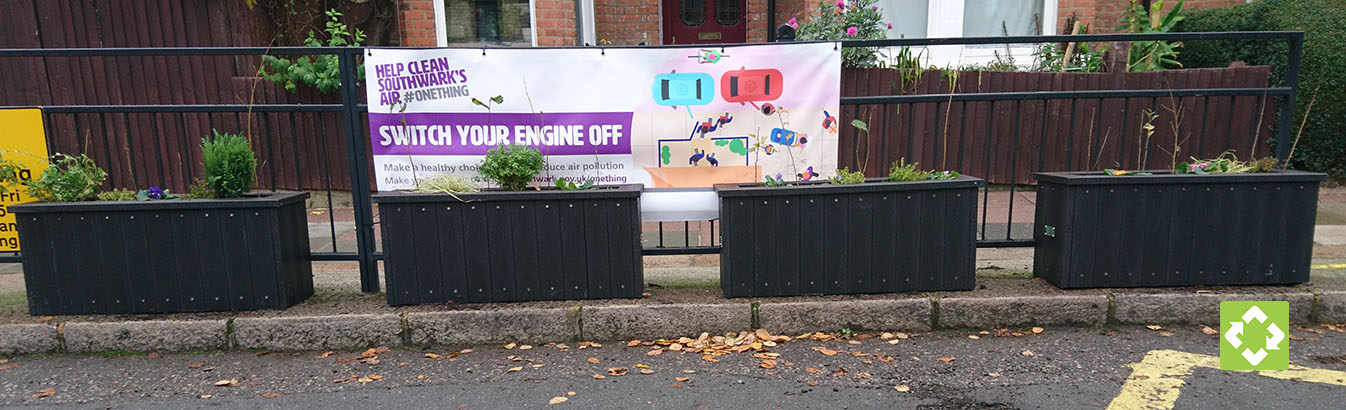 The recycled plastic planters outside Goose Green school which have dramatically improved the air quality.