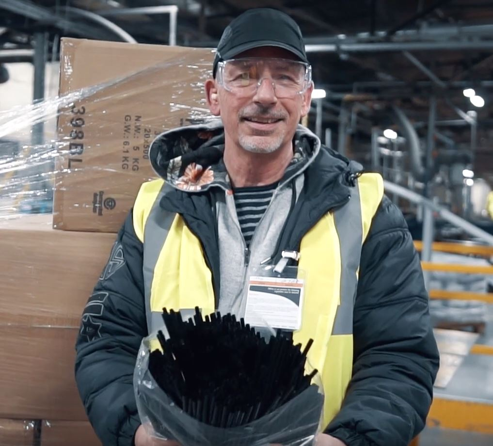British Recycled Plastic head honcho Jason Elliott holds some of the many, many straws given by JD Wetherspoon