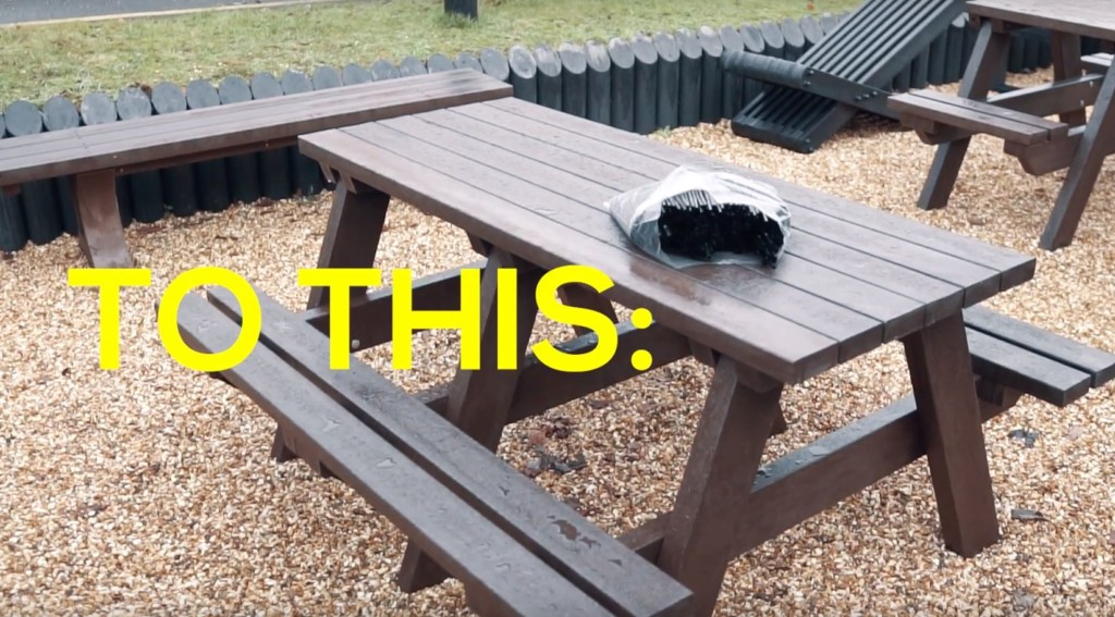 Recycled plastic picnic tables, ideal for pub beer gardens.