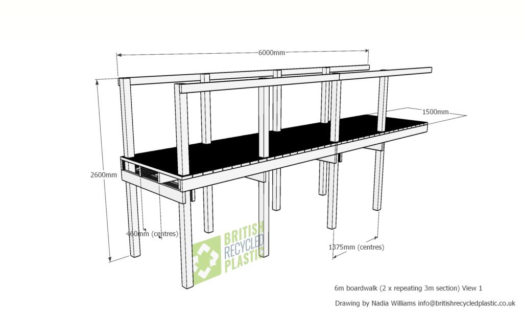 Recycled plastic 6 metre boardwalk view 1
