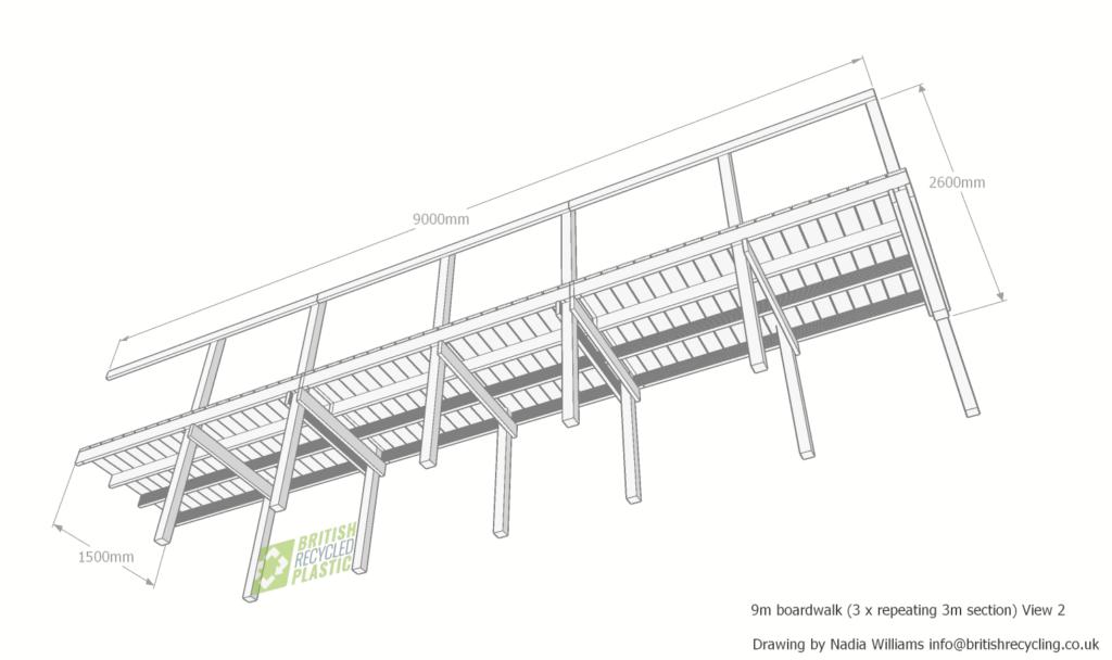 Recycled plastic 9 metre boardwalk view 2