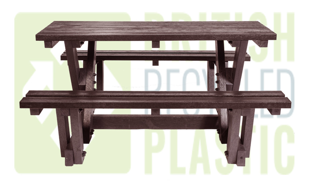 Batley recycled plastic walkthrough picnic table, now available semi-assembled