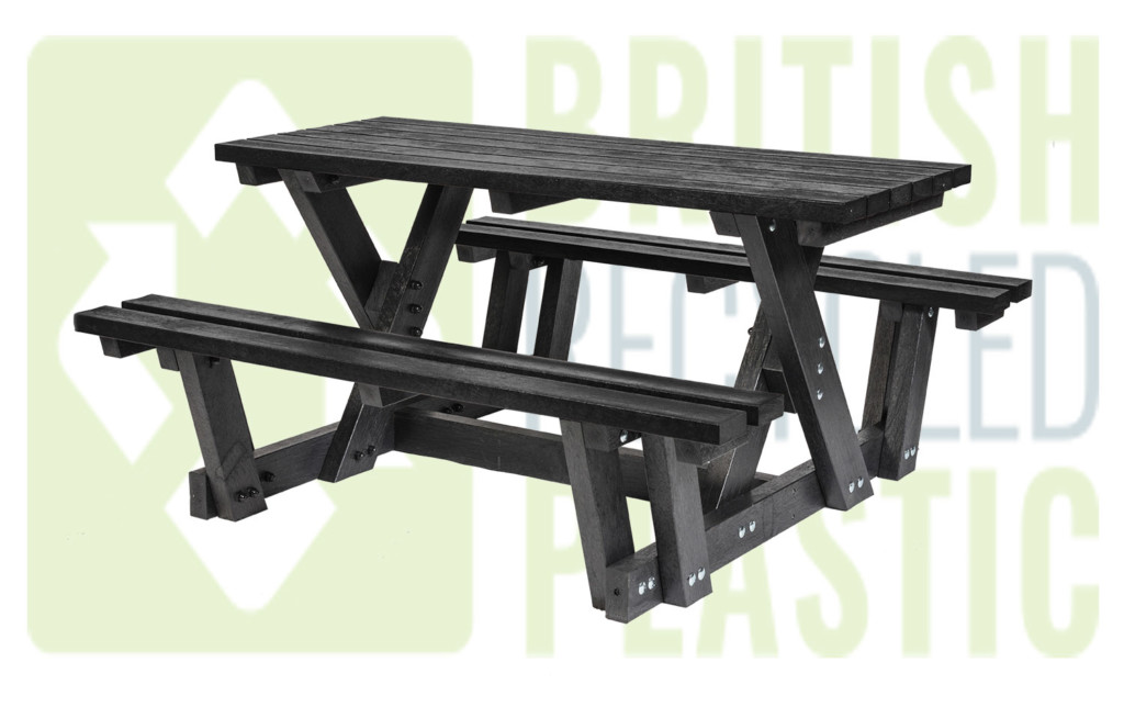 Batley walkthrough picnic table made from British recycled plastic and available in black, brown or with coloured tops