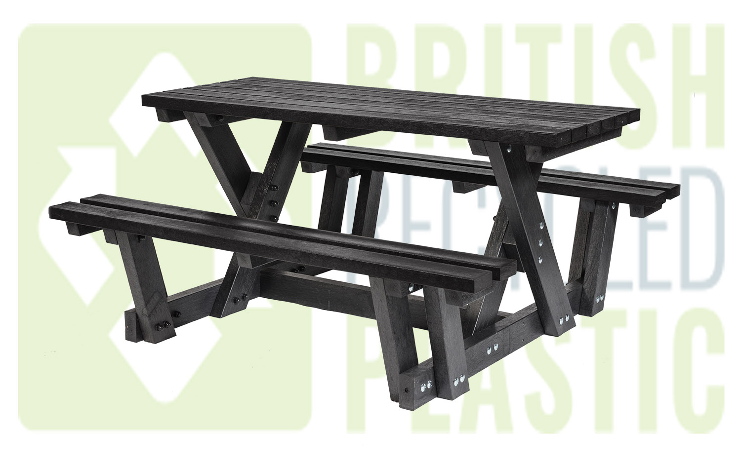 The Batley picnic table is popular with users who have limited mobility as it is easier to access than standard A-frame picnic tables