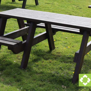 The Bradshaw wheelchair accessible recycled plastic picnic table in black