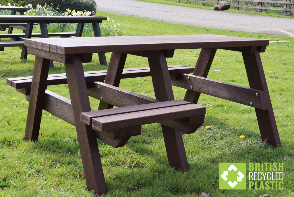 A brown Bradshaw wheelchair accessible picnic table made from British recycled plastic