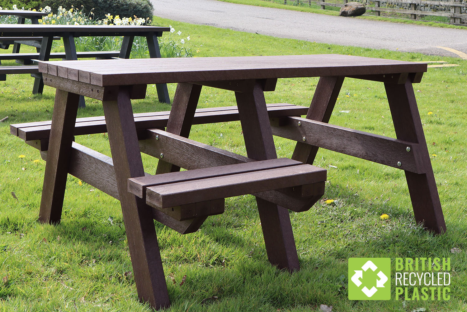 A brown Bradshaw wheelchair accessible recycled plastic picnic table