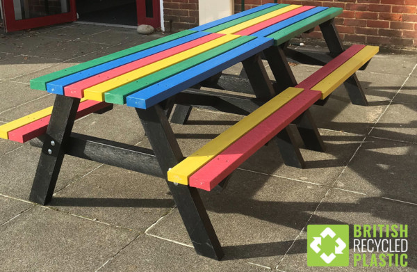 Multicoloured recycled plastic Holmfirth junior picnic tables
