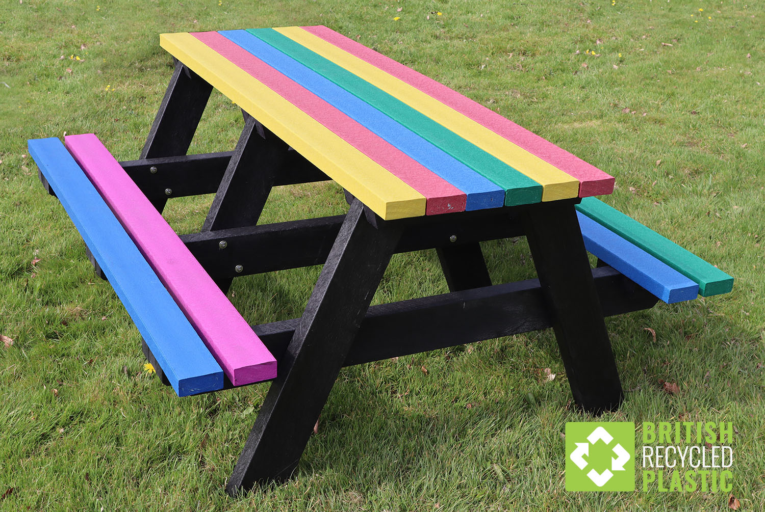 Multicoloured Denholme recycled plastic picnic table 4 to 6 people