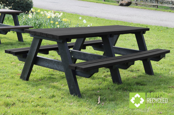 2 metre Todmorden recycled plastic picnic table in black, available semi-assembled or fully assembled
