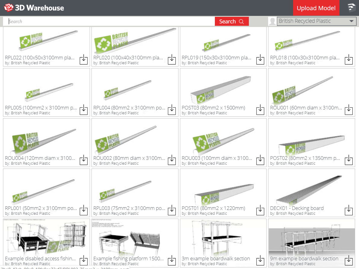 British Recycled Plastic planks and posts available for download in SketchUp