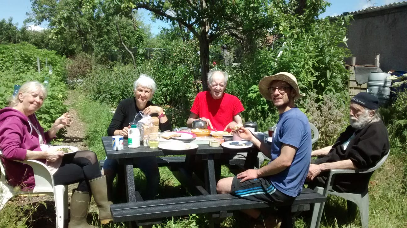 Easton Community Garden volunteers taking a break at their new Todmorden recycled plastic picnic table