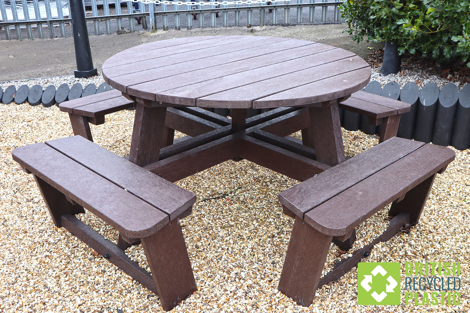 Eight seater Calder table delivery price drop Recycled plastic round Calder picnic table