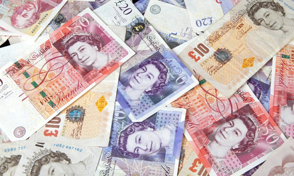 A pile of English banknotes